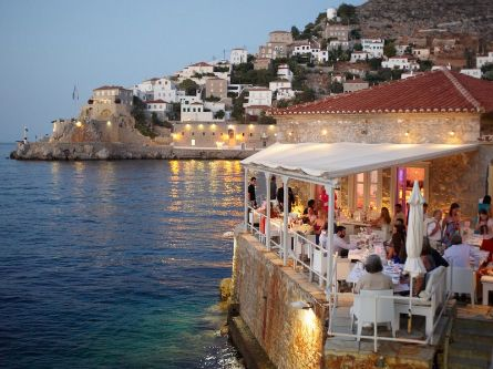 Omilos Restaurant and Bar, sea view, Hydra Island Greece, Chic and sophisticated. Open throughout the summer for lunch or dinner and late night parties.