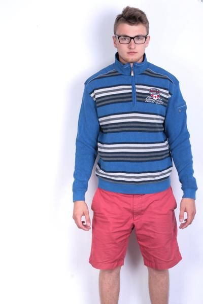 Engbers Mens M Jumper Striped Blue Sweater Zip Neck - RetrospectClothes