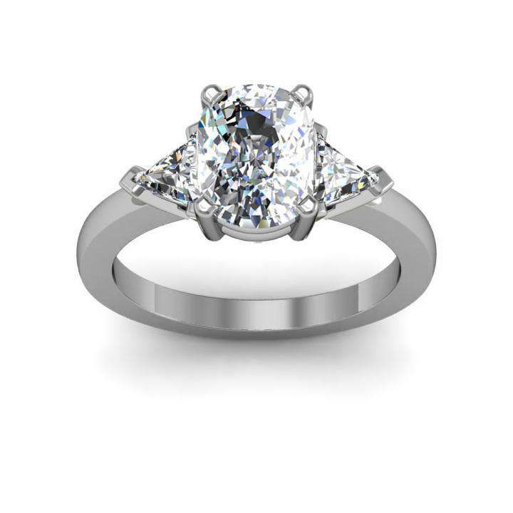 3-Stone with Trillion Sides Natural Diamonds Engagement Ring