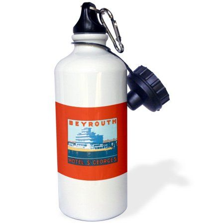 3dRose Beyrouth Hotel St Georges Hotel on the Waterfront Luggage Label, Sports Water Bottle, 21oz