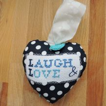 'Laugh and love' patterned cross stitch hanging heart - DolceDecor home decoration