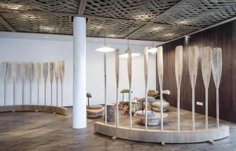 Ripple Hotel-Qiandao Lake - interior: Hangzhou is historically considered to be a very romantic place. Ripple Hotel pays homage to this beautiful town by using natural materials to mimic the historic and natural context. The ripple motif can be seen all throughout the space su...