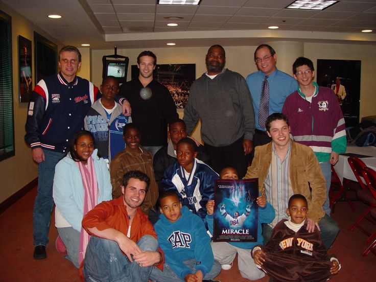 Miracle cast and Buzz Schneider @ The Arrowhead Pond during a Mighty Ducks game in 2004. @Anaheim Ducks