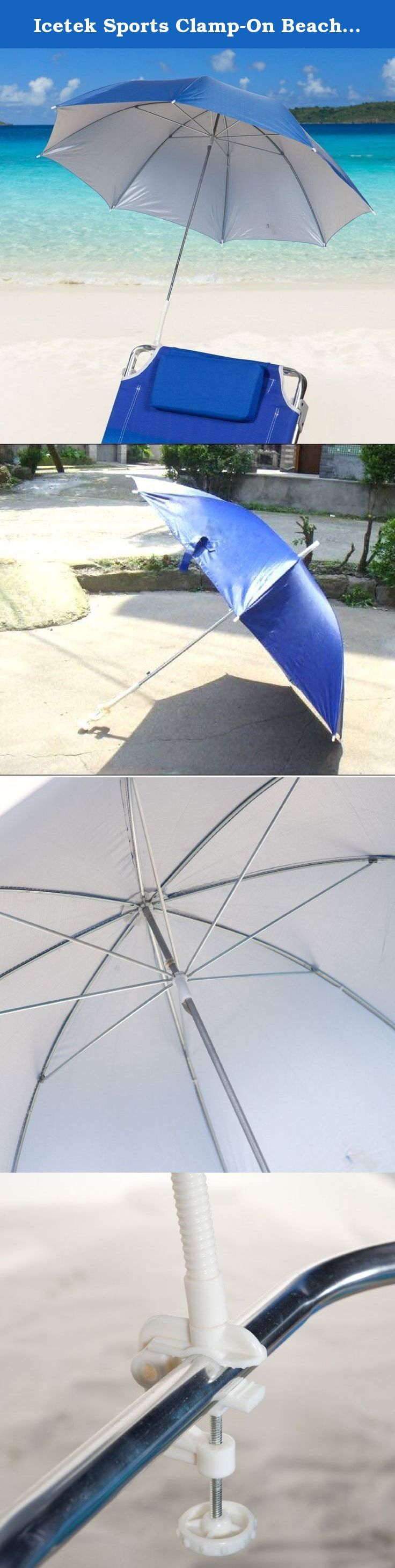 """Icetek Sports Clamp-On Beach Umbrella, Blue. You're made in the shade! icetek clamp-on umbrellas go where you go...to the pool, the beach, the Park, camping. They easily clamp-on to a chair, table, anywhere you need a little shade & some spf-50 sun protection. They open to a full 41"""" plus."""