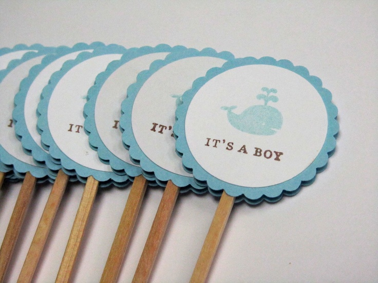 Baby Shower Cupcake Topper Ideas : Baby Shower Cupcake Toppers - WHALE - Nautical - Handmade ...