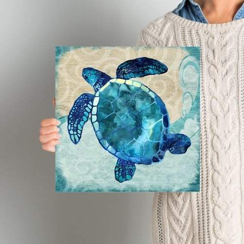Beachcrest Home 'Sea Turtle' Graphic Art Print on Canvas..I really like the color on this, great for a beach house, heck any house..#ad #homedecor #animals #turtle #beachhouse #art #print