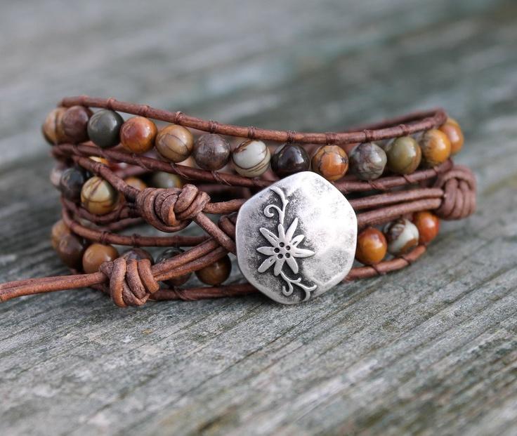 Leather Wrap Bracelet, Boho Hippie Bracelet, Triple Wrap Bracelet, Beaded Wrap Bracelet, Red Creek Jasper. via Etsy.