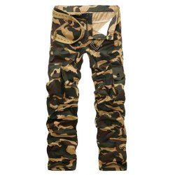 Straight Leg Camouflage Military Army Cargo Pants - Apricot - 2xl