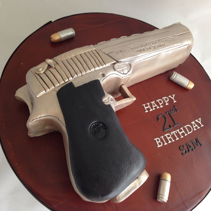 Desert eagle gun cakeLoading that magazine is a pain! Get your Magazine speedloader today! http://www.amazon.com/shops/raeind