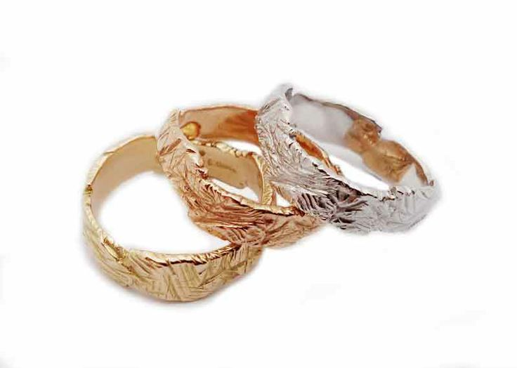 3 colours of gold hand made rings