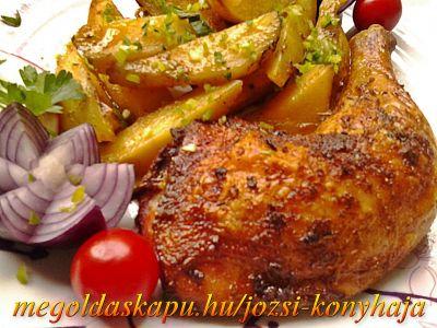 Sült csirkecomb tepsis burgonyával http://megoldaskapu.hu/csirkecomb-receptek/sult-csirkecomb-tepsis-burgonyaval • 6 db csirkecomb • 2 kg burgonya • só • 1 mk szárnyas fűszer • 1 mk durvára darált bors • 1 mk őrölt kömény • 1 mk fokhagyma granulátum • 1 mk szárított rozmaring • 1 mk ételízesítő • 1 mk cayenne bors • 1 ...