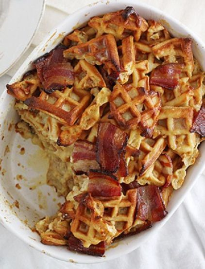 Calling all waffle and bacon lovers! This special-occasion brunch dish is for you! Prepare this sweet-and-savory waffle bake the night before if you like. Just bake until done, cool to room temp, cover and refrigerate overnight. The next morning, toss in a 250°F oven until heated through. So easy!: