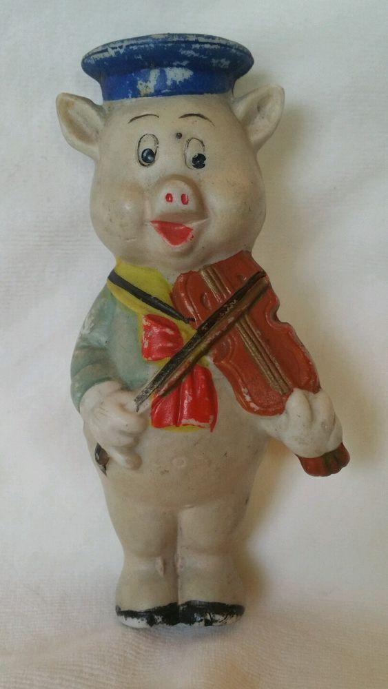 Vintage Walt Disney 1930s bisque violin fiddle playing 3 pig figurine made Japan #WaltDisney #ThreePigs