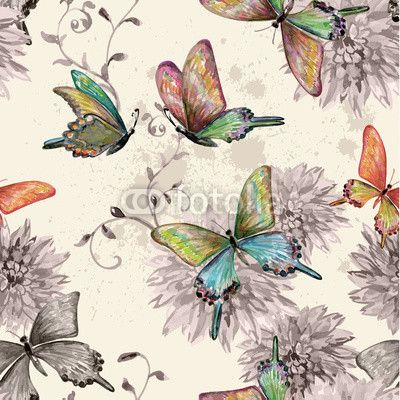 Materiał do szycia vintage seamless texture with of flying butterflies. watercolor