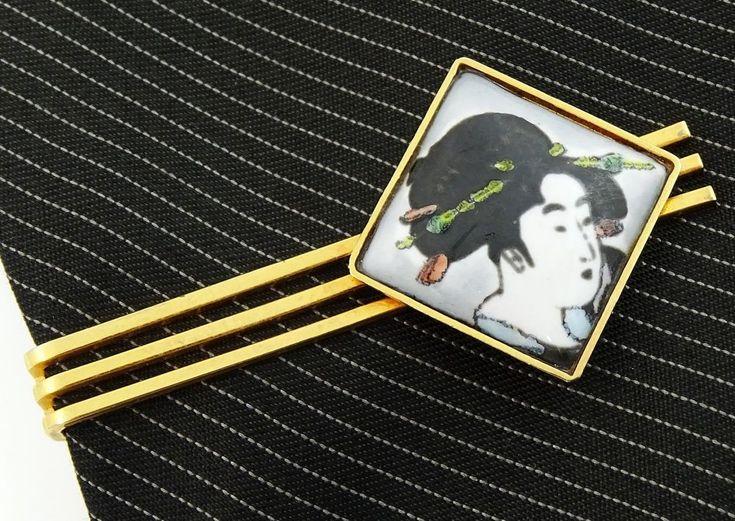 Beautiful tie clip! Japanese Geisha Woman Tie Bar. Hand Painted. #thetiechest