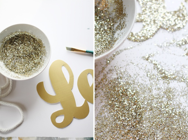 Mix gold and silver glitter modge podge onto wooden for Mixture of gold and silver