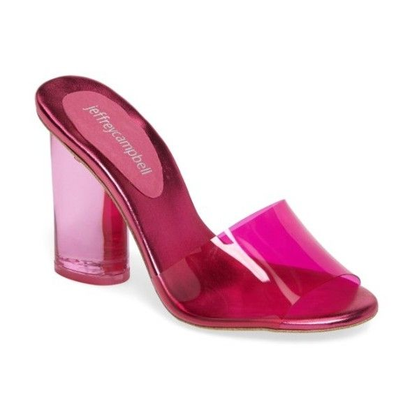 Women's Jeffrey Campbell Minuit Slide Sandal ($120) ❤ liked on Polyvore featuring shoes, sandals, fuchsia combo, jeffrey campbell, jeffrey campbell shoes, fuschia sandals, fuchsia sandals and jeffrey campbell footwear