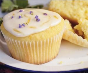 Healthy lemon lavender cupcakes
