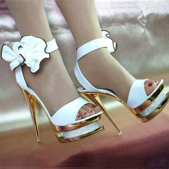 Exotic white gold high heel prom shoes 2014 with floral detail on the ankle strap