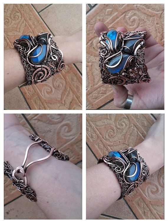 Statement wire bracelet with natural Labradorite stones The bracelet is made of recycled copper wire with natural Labradorite stones.It is made completely by hands with wire wrapped technique.  I adore big jewelry,statement like this one.Attractive and unique!What a woman needs more than that?  The copper has been aged and polished to give a rich patina and depth of color.   Bracelet is not covered with varnish and may get a it patina with time.If you want to protect jewelry from patina keep…
