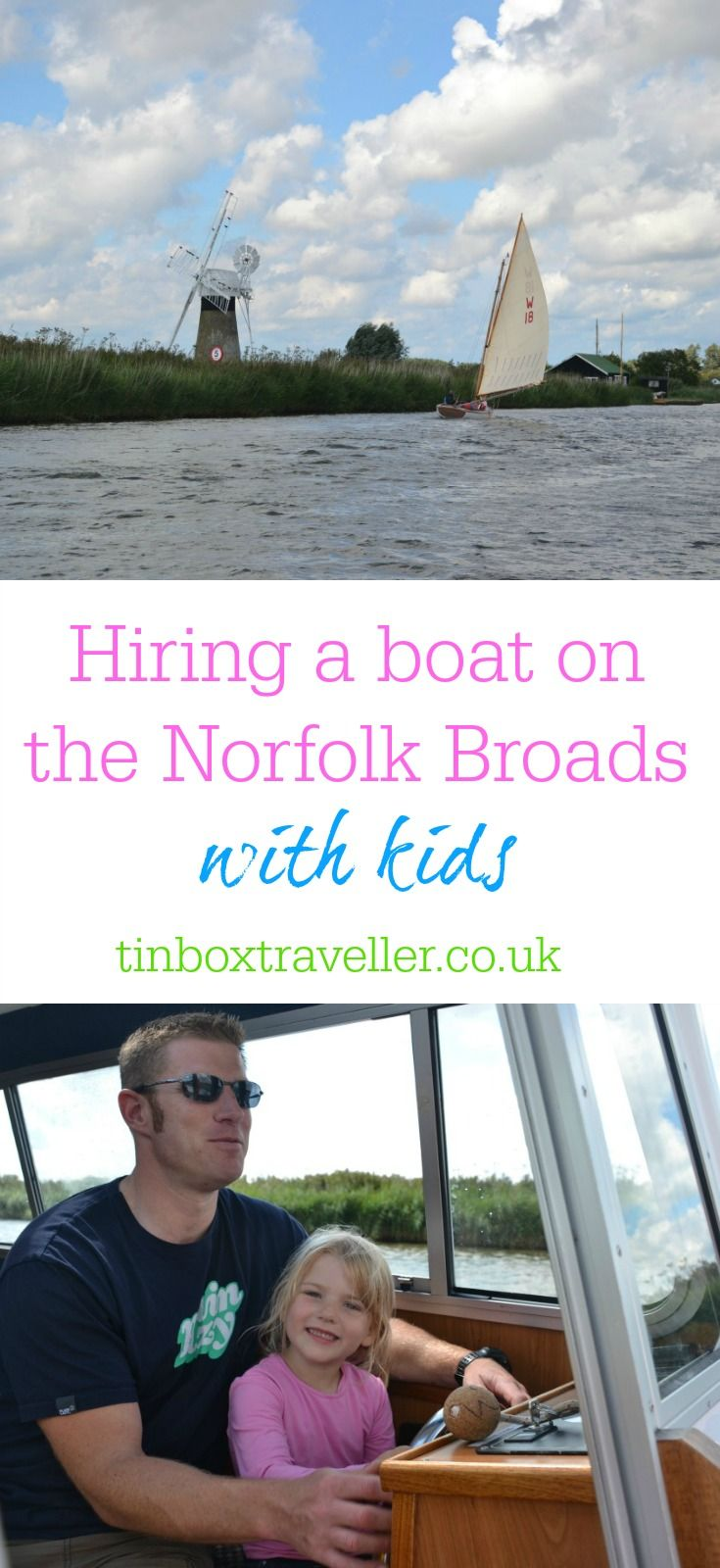 Norfolk is famous for its 125 miles of lock-free waterways. Here's a family day out the Norfolk Broads and some tips for hiring a boat with kids #UKholiday #Norfolk #NorfolkBroads #boating #boathire #familydayout #familytravel #boatingtips