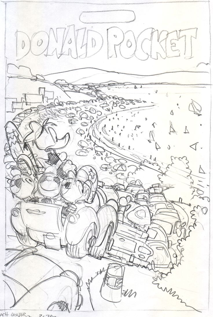 Giorgio cavazzano pencil for a donald pocket cover ehapa publishing 2008