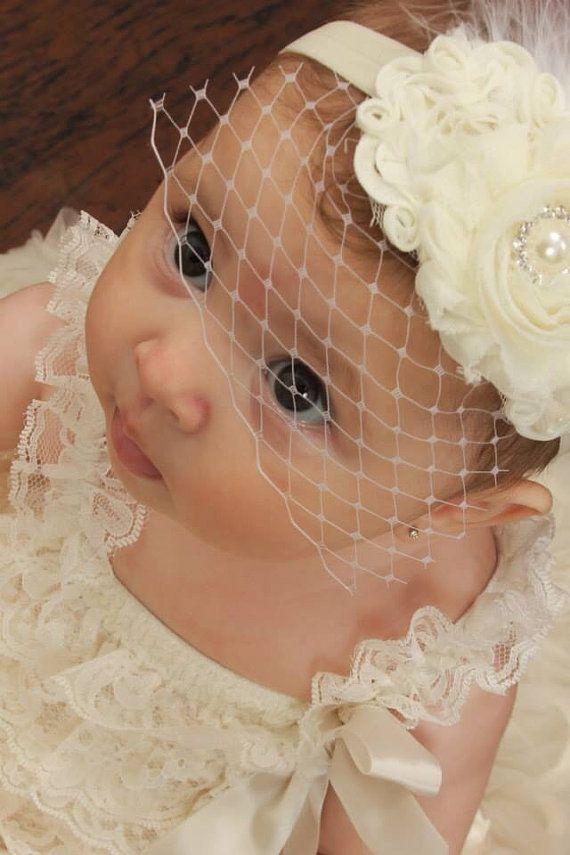 Baby Baptism Headband .. Shabby Chic ..   by nanarosedesigns, $18.00