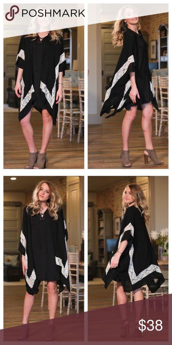 New! Black and ivory lace kimono cardigan Beautiful black kimono with ivory lace details. 100% rayon. Bundle and save! Infinity Raine Sweaters Cardigans