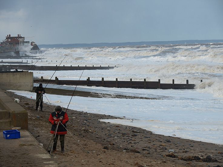 Fishing at High Tide, Hornsea Beach by Tom Wood