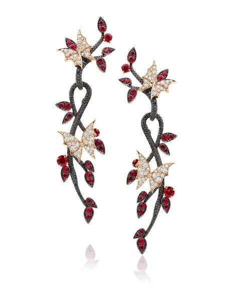 Stephen Webster 'Fly By Night' Couture earrings set in rose gold, with rubies and black and white diamonds