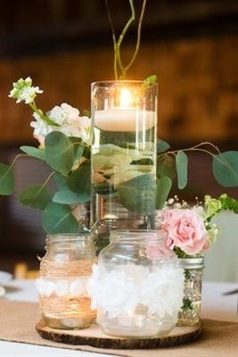 Romantic, Rustic, Country Wedding  -  Lace,  Chic,  Mason
