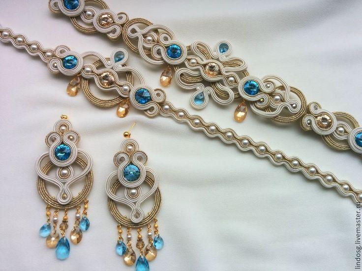 Купить Сутажные украшения НЕВЕСТЕ - белый, сутажные украшения, синий, сутажные серьги, свадебные аксессуары