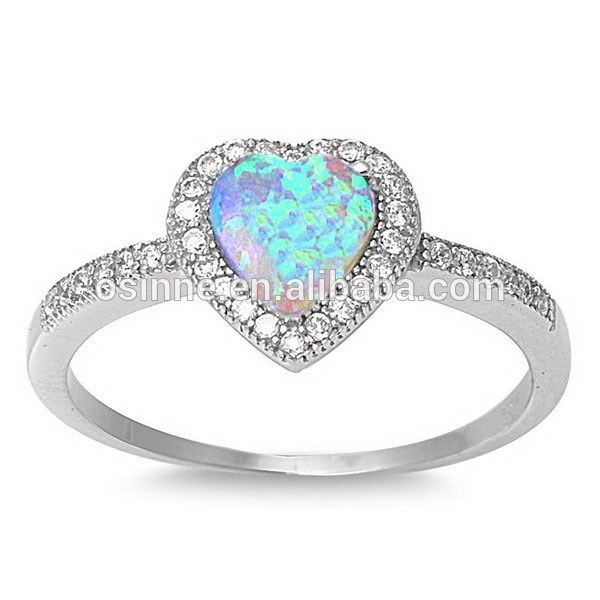 Corazón En Forma de Ópalo de Fuego en bruto 925 Sterling Silver dome anillo Con Zirconia, anillo de compromiso OSSR0167