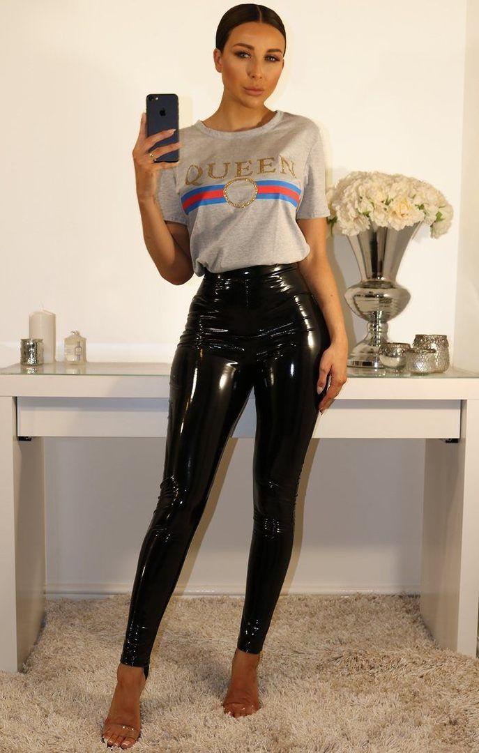 50736bbfcbdc0 Black High Shine Vinyl PU Trousers - 4 in 2019 | Girls | Vinyl ...