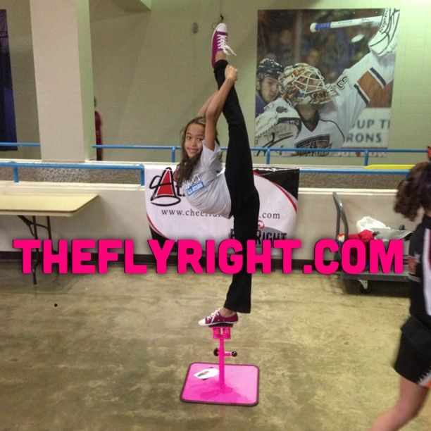 Fly Right Cheer stand for Flyers. The springs in the stand help flyers and other cheerleaders work on balance. It mimics the way it feels to be held in the air by your bases. Theflyright.com