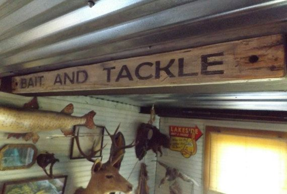 Hey, I found this really awesome Etsy listing at https://www.etsy.com/listing/268297456/wood-bait-and-tackle-sign-fishing-decor