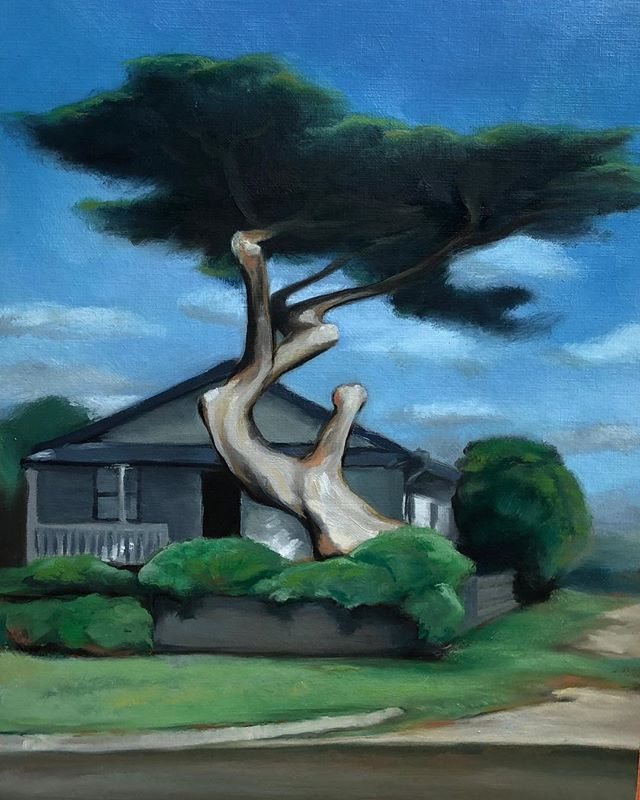 The house where memories live. #whimsicaltree#memory#art#painting