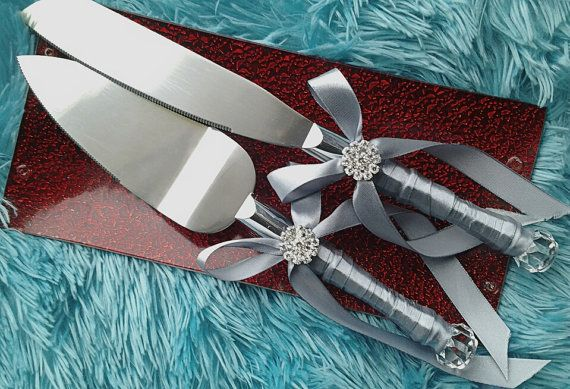 silver grey satin ribbon wedding cake server by Exquisitefindsbycj