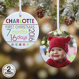 Personalize your Christmas tree with this decorative Personalized Baby's First Christmas Ornaments - Baby's Age - 2-Sided. Find the best personalized Christmas ornaments at PersonalizationMall.com