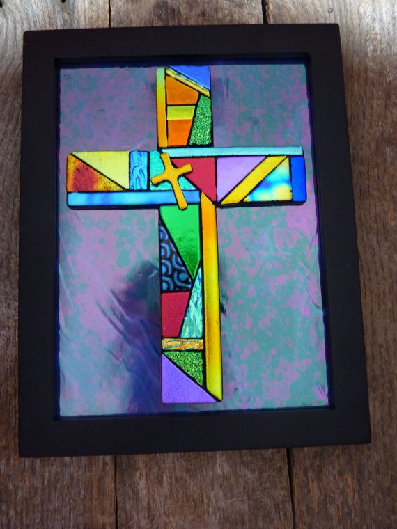 Framed Mosaic Style Dichroic Fused Glass Cross by PureLightStudio, $95.00: