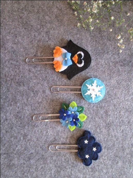 Set di 4 graffette invernali: pinguino, fiocco di neve, bouquet, nuvola; Segnalibri in feltro; Planner accessories; Regalo per lettori di TinyFeltHeart su Etsy