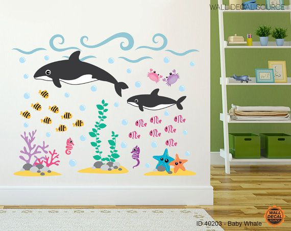 Ocean Wall Decal   Under The Sea Orca Stickers   Whale And Fish Wall Decal    Whale Decals