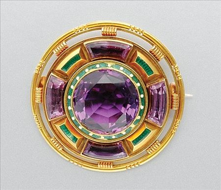 Antique Gold, Amethyst and Enamel Brooch   The circular mount centering one round amethyst, approximately 16.0 mm., encircled by green enamel, spaced by white enamel dots, quartered by 4 slightly curved rectangular-shaped amethysts, joined by slender green enamel panels within stepped gold, accented by circular gold wirework and beading, slight enamel loss, approximately 17.8 dwt