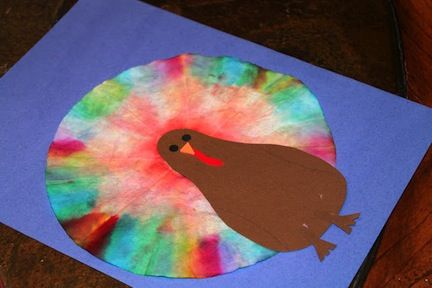 """""""Coffee Filter Turkey"""" [Weekly Crafts] [Week #4] [Changes: Prewrite with pencil a line so that kids know to color lines on the outer rim of the coffee filter] PREPPED: We have 24 kits put together--12 for each site"""
