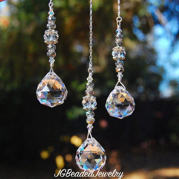 Ceiling Light Pull, Fan Pull, Crystal Pull Chain, Prism Light Pull Attachment, Ornament, Crystal Suncatcher