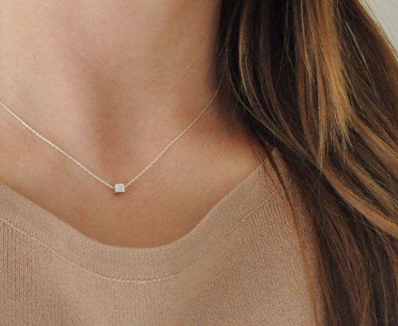 Tiny Sterling Silver Cube Necklace - Geometric - Minimalist - Minimal - Short - Floating - Simple - Small Tiny - Collarbone necklace