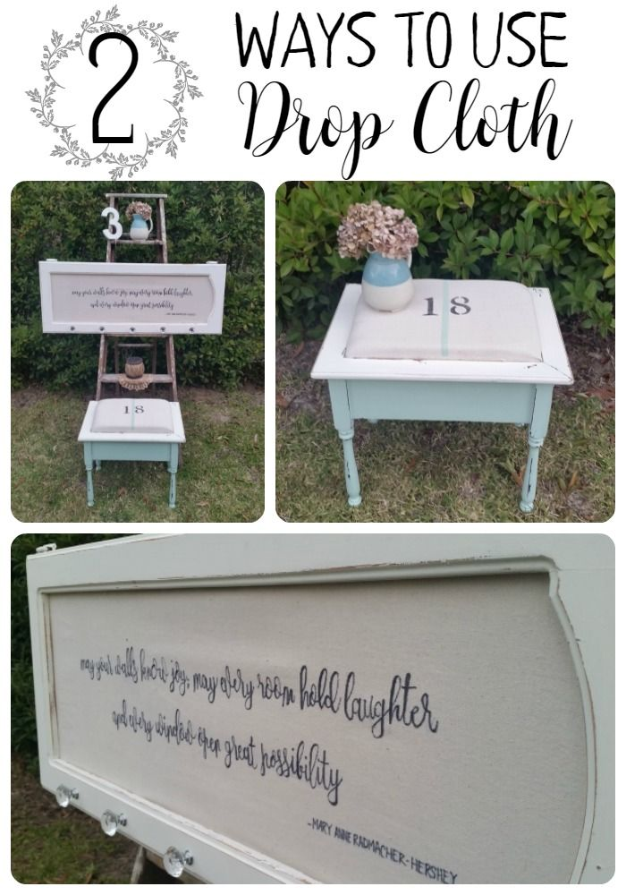 A full tutorial on how to make 2 DIY Drop Cloth Projects using some thrifted finds | www.raggedy-bits.com