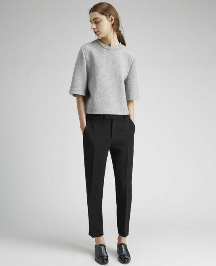 pantalon élégant noir pour les femmes modernes, pantalon pince noir
