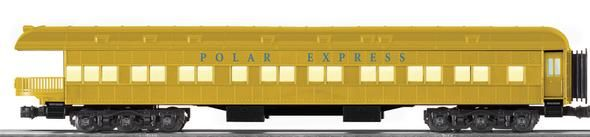 """Die-cast metal trucks and operating couplers     Hidden uncoupling tabs     Flexible diaphragms between cars     Opening doors     Overhead interior lighting with ON/OFF switch     Authentic Polar Express decoration and details     Gold finish     Detailed interior floor plan     Illuminated Polar Express drumhead     One figure in the interior     Red light on end of observation car     Curved end platform deck   Gauge: Standard O Scale  Dimensions: Length 19""""  Minimum Curve: O-54"""