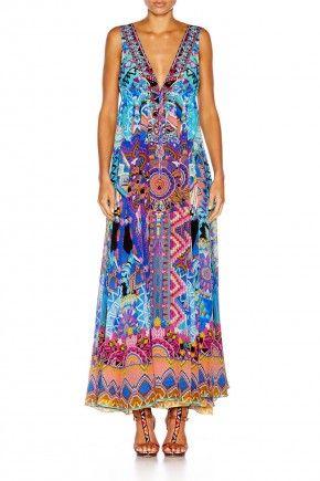 ALICE IN ESSAOUIRA LONG VNECK DRAWSTRING DRESS $639